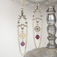 Victorian Steampunk Chandelier Gear Earrings with Swarovski Elements Birthstone Crystal Bead