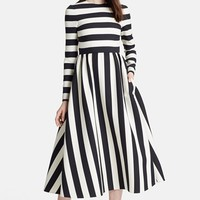 Women's Valentino Stripe Wool & Silk Dress,
