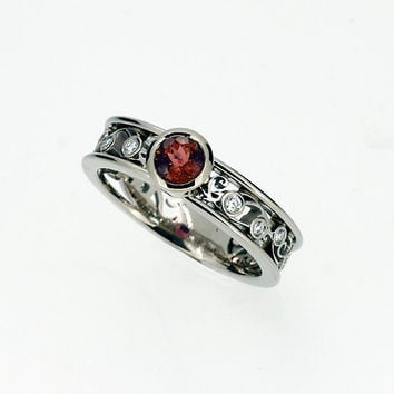 Garnet and diamond filigree ring, bezel engagement ring, unique, white gold, red wedding ring, garnet filigree, garnet wedding, yellow gold