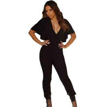 Rompers Womens Jumpsuit 2016 Overalls Sexy Black Frill Cape Sleeve Open Back Women Summer Jumpsuit Long