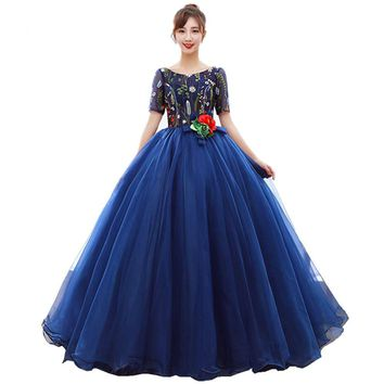 New Royal Blue Evening Gown Floor Length Embroidery Lace Flower Bride Wedding Party Prom Dress