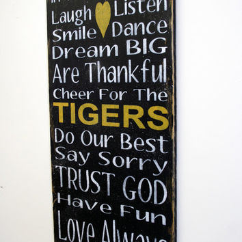 Family Rules Sign Personalized Sign Missouri Tigers Sign Team Sign Black and Yellow Handpainted Wood Sign Distressed Wood Mancave