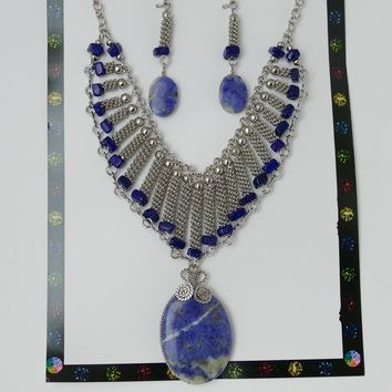 Jewelry Set, Big Stone Necklace & Earrings Set, Metal And Stone Jewelry Set