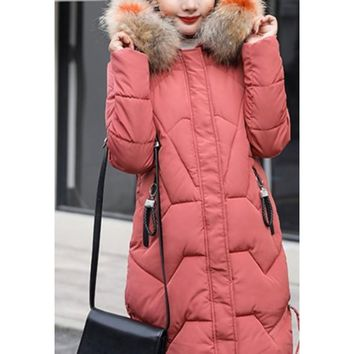Womens Casual Puffer Coat with Faux Fur Hood in Pink