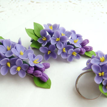 Floral hair clip and ring with a sprig of violet lilac.Floral hair accessories. Polymer  clay flower. Handmade hair accessories.