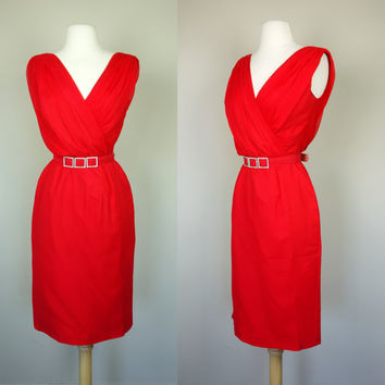 1950s Lilli Diamond dress, red silk chiffon wiggle dress w/ rhinestone belt, Grecian cocktail formal holiday party dress