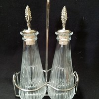 Mikasa Oil & Vinegar Glass Decanters with Silver Plated Holding Rack, Oil and Vinegar Cruets in silver Plated Rack  (886)