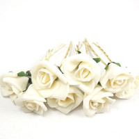 Bridal Hair Accessories, Ivory Rose, Cream  flower Hair Bobby Pin, Brass Bobby pin- set 8