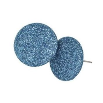 Turquoise Blue Retro 80s Sparkly Disco Fabric Earrings