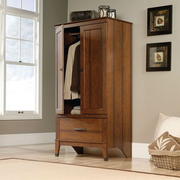 Bedroom Wardrobe Cabinet Armoire with Garment Rod in Medium Cherry Finish
