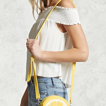 Lemon Faux Leather Crossbody
