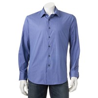 Apt. 9 Modern-Fit Patterned Woven Casual Button-Down Shirt - Men, Size: XXL (Blue)