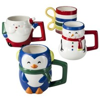 Santa, Snowman, Penguin and Gift Mugs Set of 4