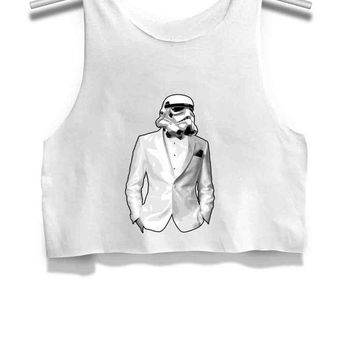 LMFP7V Sharp Dressed Trooper Womens Crop Tank Top