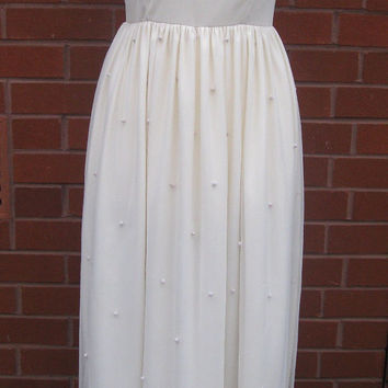 UK10 US6 Cream White Vintage inspired 1920s Flapper Gatsby Deco Embellished Polka Dot Wedding Bridesmaid Formal Prom Maxi Dress HandMade New