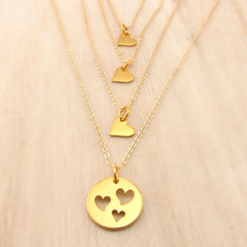 Gold Mother Daughter or Sisters Necklace Set, FOUR Necklaces, Vermeil Heart Necklace Set, Sisters and Best Friends Jewelry, Mom of Three Set