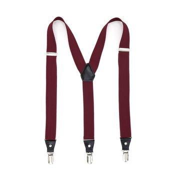 Burgundy Clip-On Unisex Suspenders