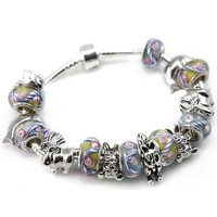 Pandora compatible Silver Plated Animals Charms with Fawn & Crystal Blue Murano Glass Beads Charm Bracelet