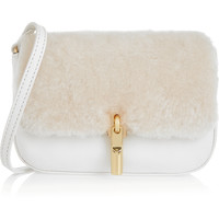 Elizabeth and James - Cynnie Nano shearling and textured-leather shoulder bag