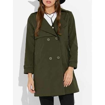 Buttoned Drawstring Waist Trench Coat - Army Green M