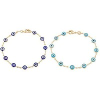 Two Year Warranty Gold Overlay with Navy Blue and Light Blue Mini Evil Eye Style 7.5 Inch Clasp Bracelet Set