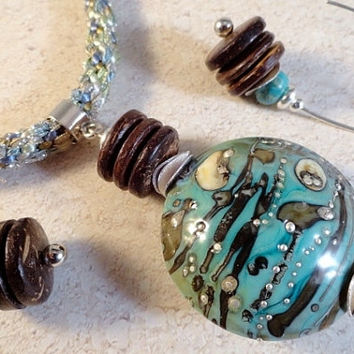 Kumihimo And Lampwork Pendant Necklace, Earrings, Coconut Shell, Silver Components, Hand-Dyed Silk Ribbon, Aqua, Sage, Mocha, Cream, OOAK