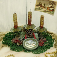 Vintage aged Christmas Roses candleholder table decor