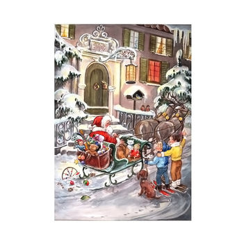 Sellmer Advent Christmas Santa with Sleigh Calendar Card 12H x 8W x .1D