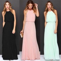 Long Chiffon Dress Prom Bridesmaid Wedding Maxi Dress