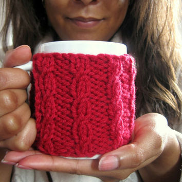 Red Coffee Mug Cozy – Cabled Mug Cozy – Take Out Cup Cozy - Christmas Gift for Coworker – Knit Coffee Mug Cover – Stocking Stuffer Under 15
