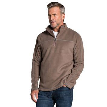 Bonded Polar Fleece & Sherpa Lined 1/4 Zip Pullover with Pockets in Cocoa by True Grit