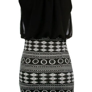 Women 2014 New Black Aztec Skirt Mini Dress = 1931984964