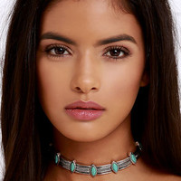 Cactus Garden Turquoise and Silver Choker Necklace