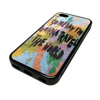 Apple iPhone 5C 5 C Case Cover Gonna Travel The World Quote Map Colorful Ocean Colors DESIGN BLACK RUBBER SILICONE Teen Gift Vintage Hipster Fashion Design Art Print Cell Phone Accessories