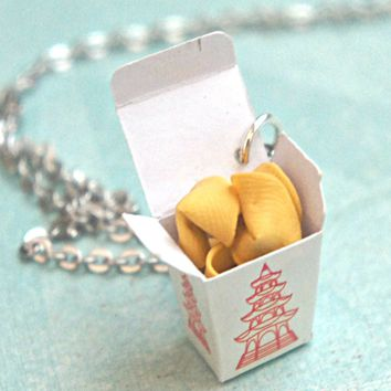 fortune cookie take out box necklace
