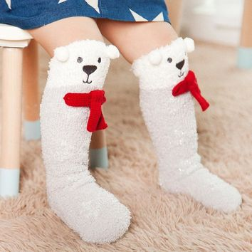 Winter Cute Animals baby socks Knee High Cotton Coral Fleece Warm Thick Christmas Sock anti slip Cartoon Leg Warmers for toddler
