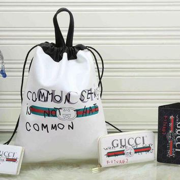 LMFUP0 GUCCI Fashion Daypack Backpack Purse Wallet Clutch Bag Four Piece Suit-2