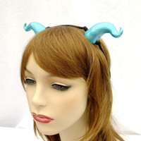 Ocean Blue Satyr Horns, Blue Dragon Horns, Water Fairy Horns, Blue Cosplay Horns, Blue Costume Horns