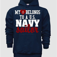Unisex Hoodie-My heart belongs to a Navy Sailor