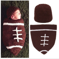 """1 Set Infant Baby Handmade Wool Knit Crochet Football Rugby Sleeping Bags Pattern Hat Cap Photography Photo Prop "" [7943116807]"