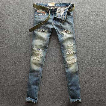Men's Jeans Retro Vintage Ripped Skull Embroidery Denim