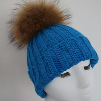 Aqua Raccoon Fur Pom Pom Hat