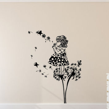 Dandelion Wall Decals Flower Butterflies Decal Girl Room Vinyl Stickers Kids Nursery Home Bedroom Decor  T123