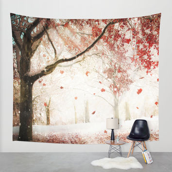 Scarlet and Snow Wall Tapestry by Jenndalyn