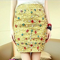 shop — 061716 Colored diamond gem gold Liangsi high waist skirts