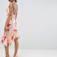 ASOS Floral Crepe Cross Back Step Hem Midi Dress at asos.com