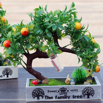 Artificial Fruit Tree Home Decor Display My Neighbor Totoro Figures Fairies Wood Container Fairy Garden Miniature Fairies