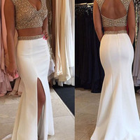 White 2 Pieces Sequin Mermaid Long Prom Dress