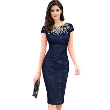 Fantaist Women Summer Floral Embroidery O Neck Ruched Lace Dress Elegant Wedding Party Casual Office Vintage Midi Pencil Dresses