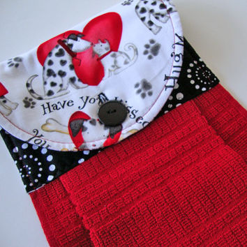 Button-Top Towel - Valentine's Hanging Dish Towel - Puppy Love Kitchen Towel - Quilted Dish Towel - Decorative Towel - Valentine's Day Dogs